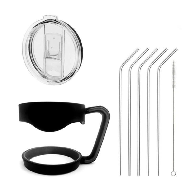 Drinkware accessory kits included straws brush lid handle for <font><b>yeti</b></font> <font><b>30</b></font> <font><b>oz</b></font> <font><b>20</b></font> <font><b>oz</b></font> rambler <font><b>cooler</b></font> vacuum stainless steel <font><b>cups</b></font> mugs