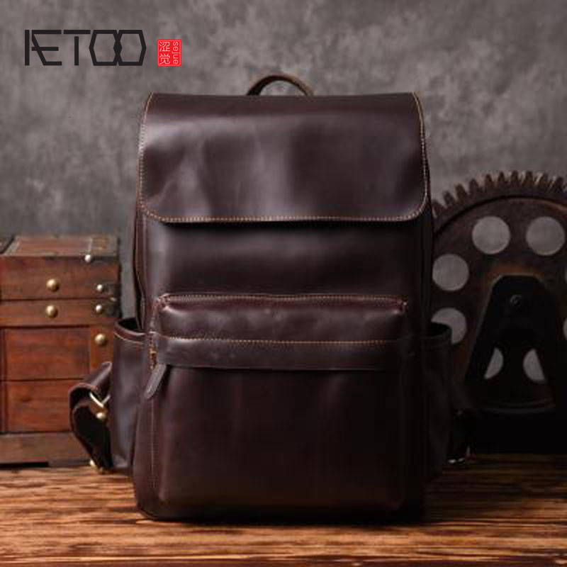 AETOO Europe and the United States retro shoulder bag men travel backpack leisure first layer leather computer bag school style europe and the united states style first layer of leather lychee handbag fashion retro large capacity solid business travel bus