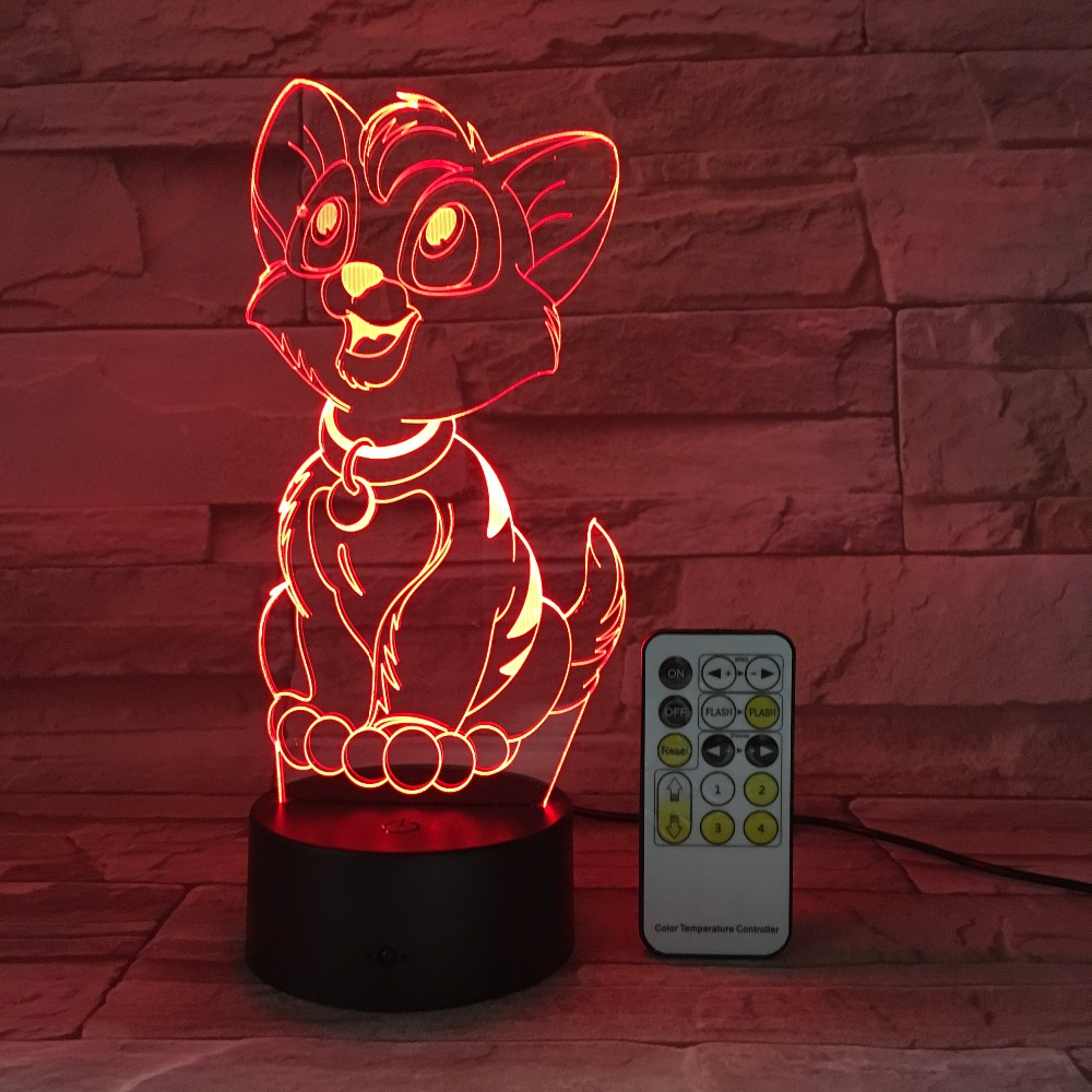 Carton Dog Lamp Anime Nightlight 3D LED USB Touch Switch Remote Control Acrylic 7 Colors Gradient Atmosphere Lights Kids Gifts