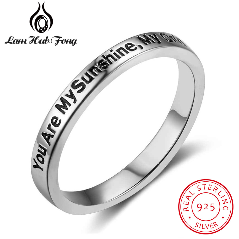 Trendy You Are My Sunshine,My Only Sunshine 925 Sterling Silver Rings For Women Vintage Style Rings Fine Jewelry Gift