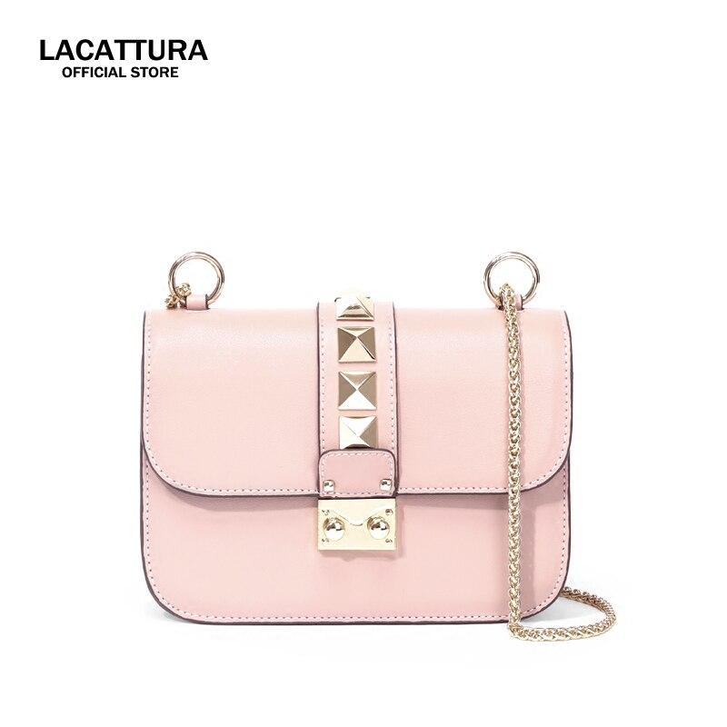 A1333 PRO LACATTURA роскошные кожаные кондитерский мешок с заклепками цепи Посланник Сумка Crossbody маленькие сумки для Для женщин