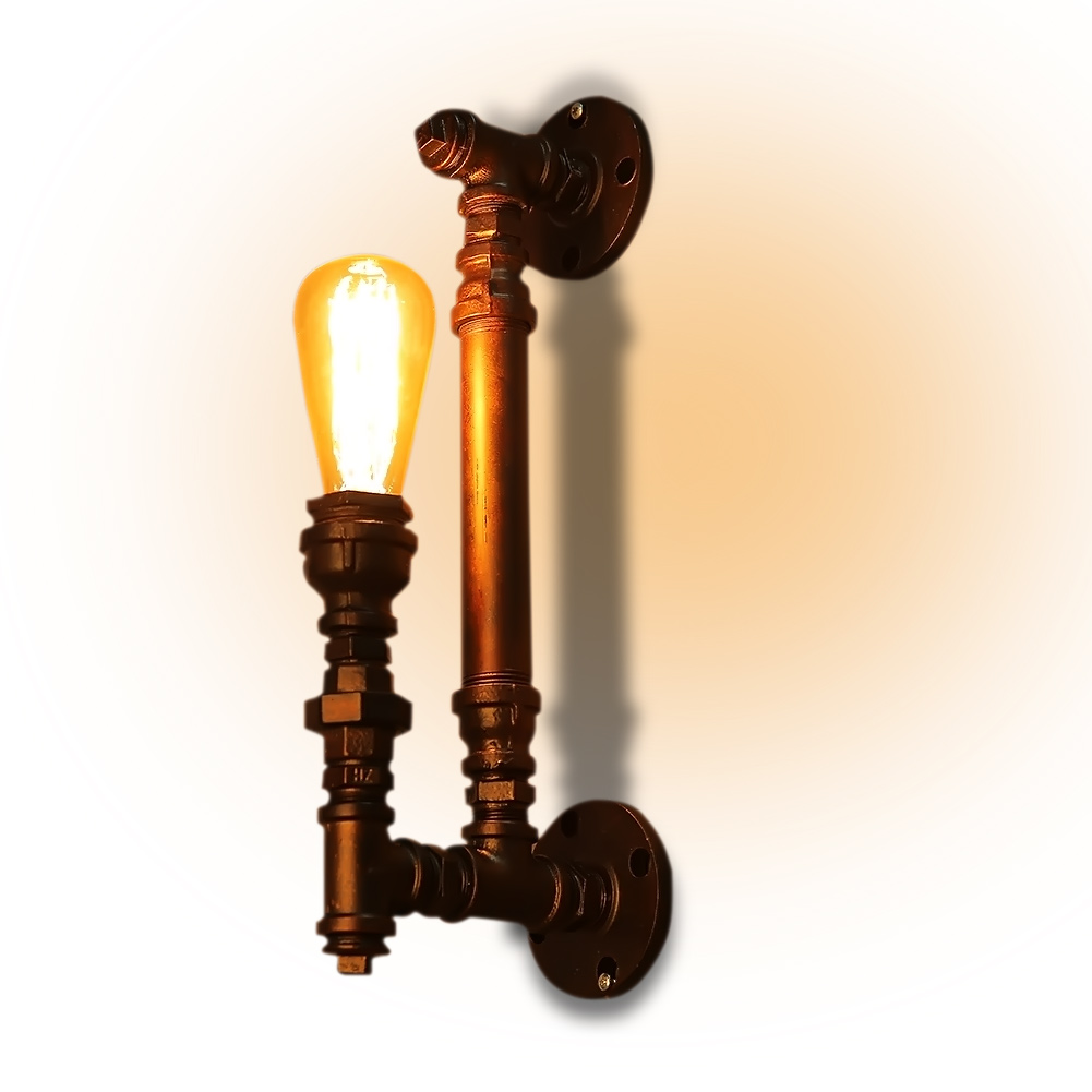 Industrial water pipe wall lamp one head ancient color iron finished edison style retro vintage E27 fitting wall lights fixtures edison chandelier vintage d220mm e27 black finished iron shade industrial pendant lamp ac110 240v with brass finished socket