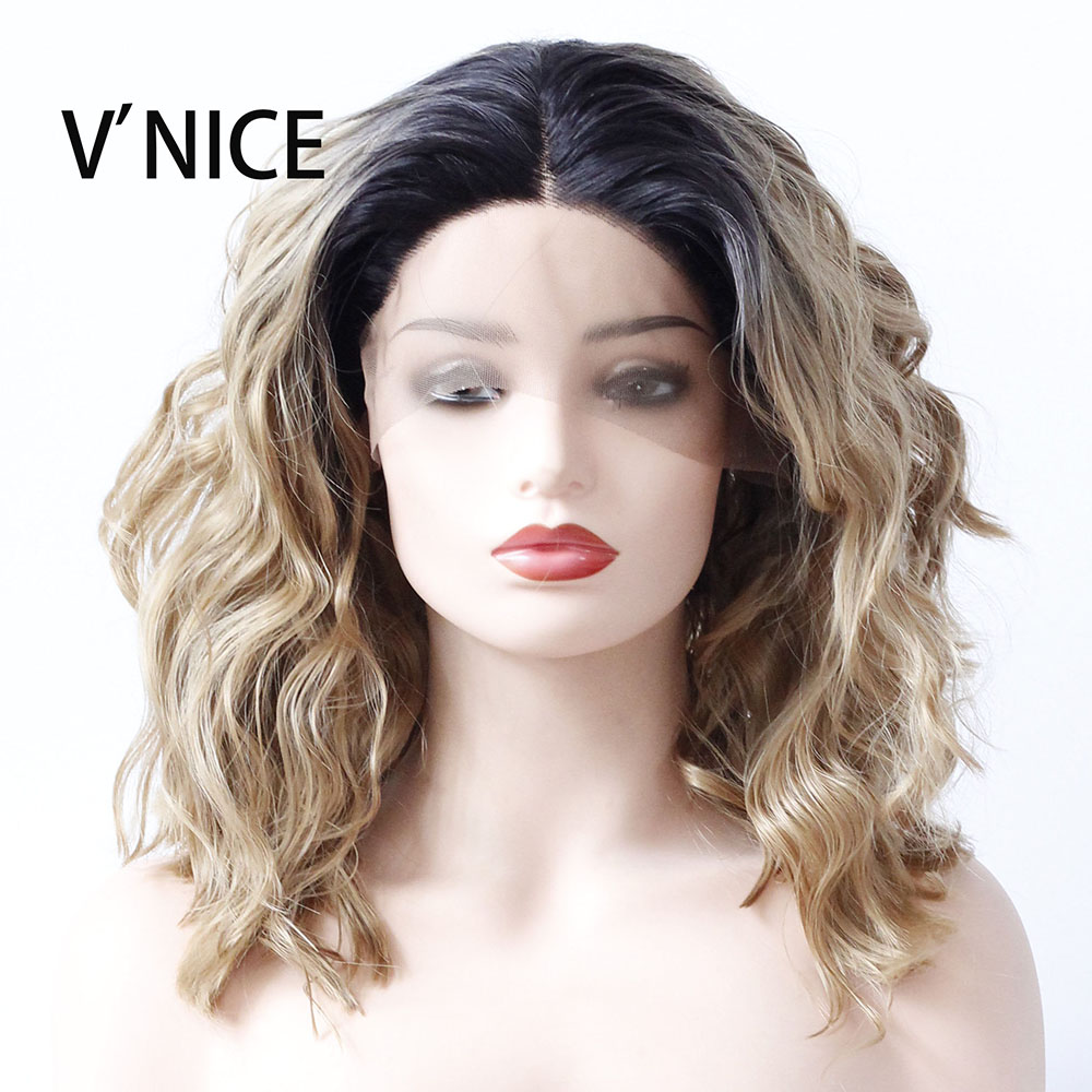 VNICE Wavy Bob Wig Dark Roots Honey Blonde Heat Resistant Glueless Synthetic Lace Front Wig for African American Women 14 Inch