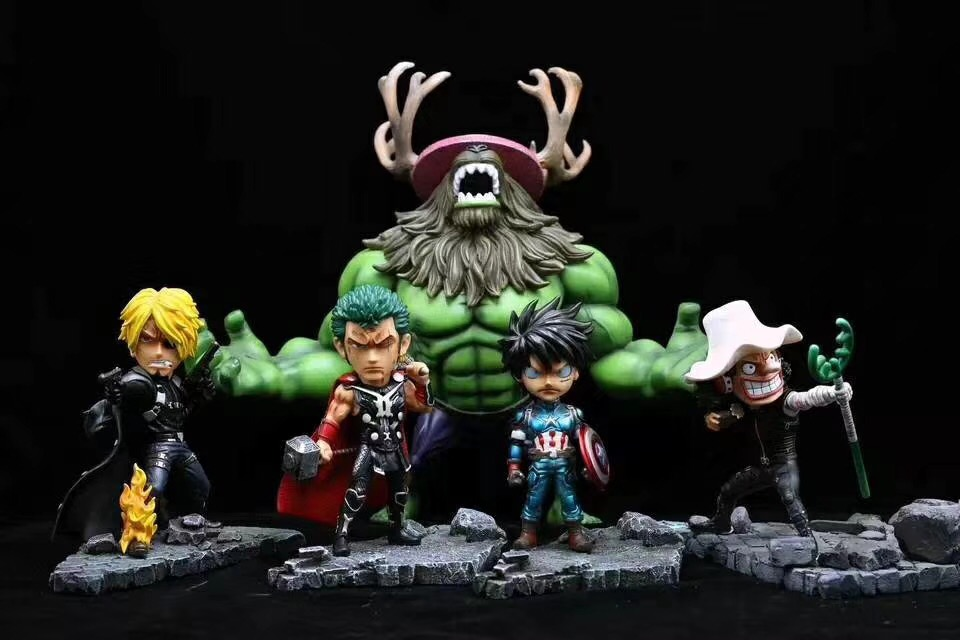 Anime One Piece Character Luffy Sanji Avengers Captain American Nick Fury Statue Model Action Figure Toys