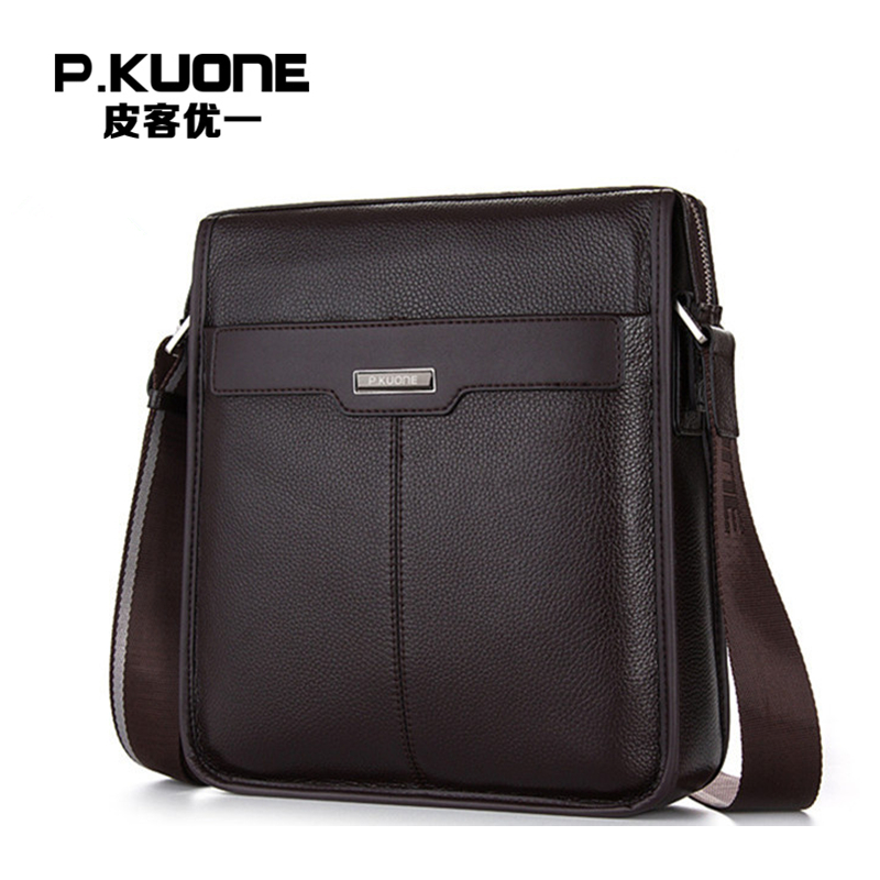 P.KUONE Genuine Leather Handbag Famous Brand Men's Crossbody Bag Fashion Shoulder Bag Business Travel Bag For Men Messenger Bag genuine leather men travel bab shoulder bag gentleman business bag real leather men crossbody bag brand fashion handbag