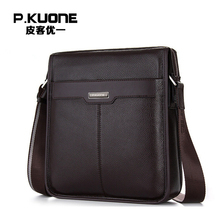 P.KUONE Genuine Leather Handbag Famous Brand Men's Crossbody Bag Fashion Shoulder Bag Business Travel Bag For Men Messenger Bag etonweag men fashion pu leather messenger business handbag famous brand crossbody bag casual male sling bag shoulder travel bags