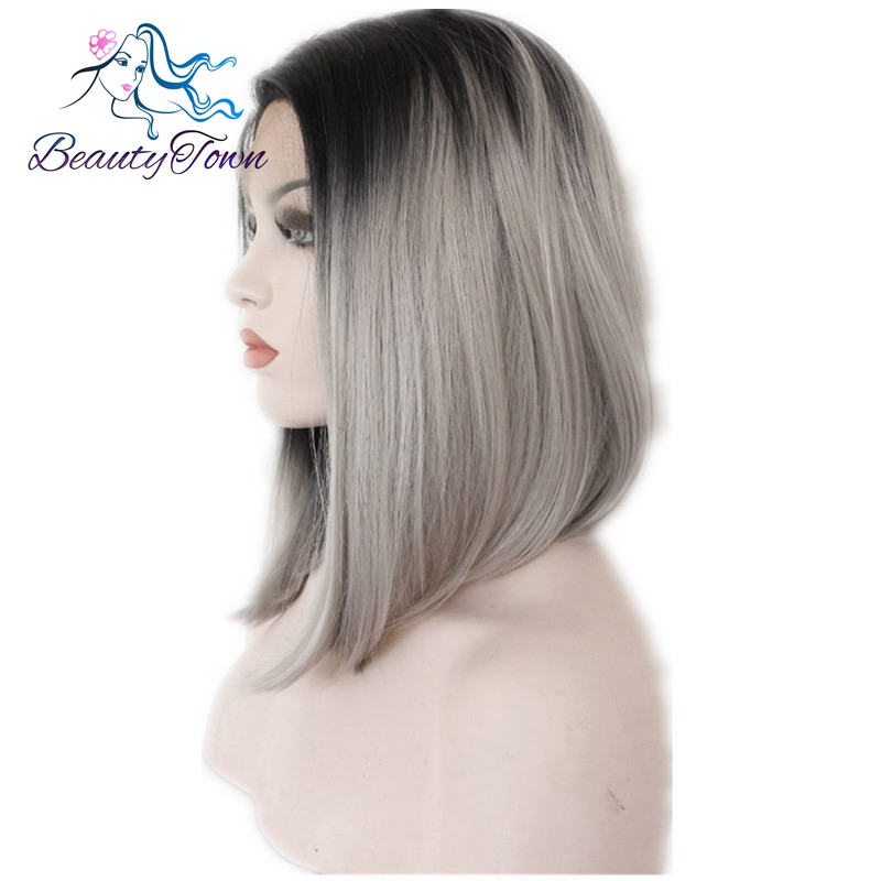 BeautyTown Gray Glueless Ombre Natural Black Silver Grey Short Bob Heat Resistant Hair Synthetic Lace Front