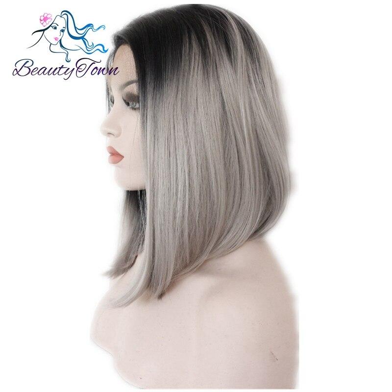 Us 350 30 Offbeautytown Grau Glueless Ombre Natürliche Schwarz Silber Grau Kurze Bob Hitze Beständig Haar Synthetische Spitze Front Perücken Für