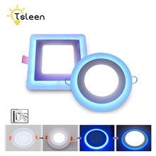 TSLEEN Cheap! Led Panel Downlight 2W 3W 4W 6W 12W 18W Round Square LED Ceiling Recessed Light LED Panel Light White+Blue