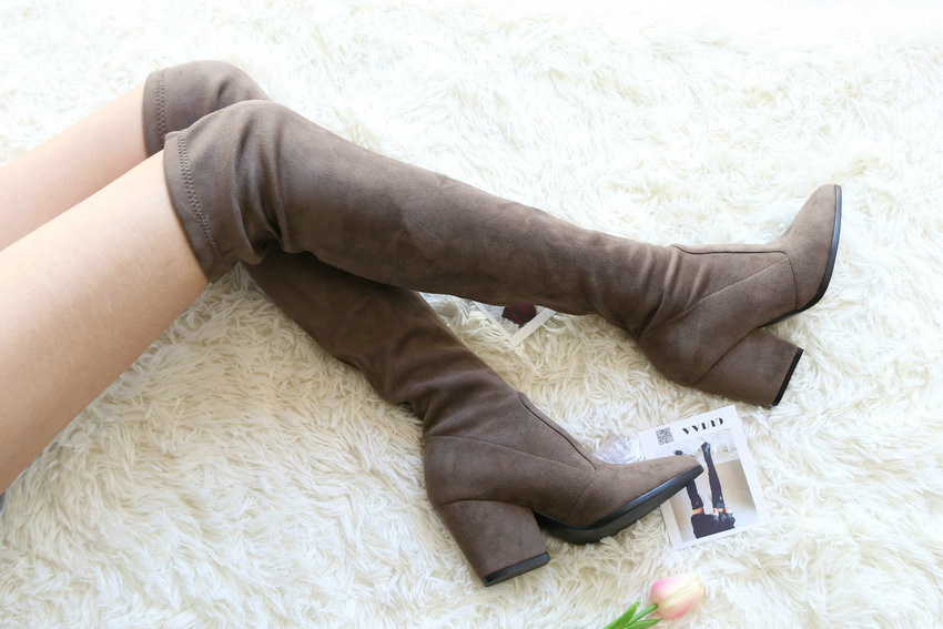 Women Hoof Heels Winter Shoes Pointed Toe Sexy Elastic Fabric Boots 54