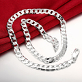 """Lostpiece 2017 New Trendy Men's 925 Silver Necklace Curb Chain 8mm 20"""" Wholesale Fashion 925 Sterling Silver Jewelry LSPN034"""