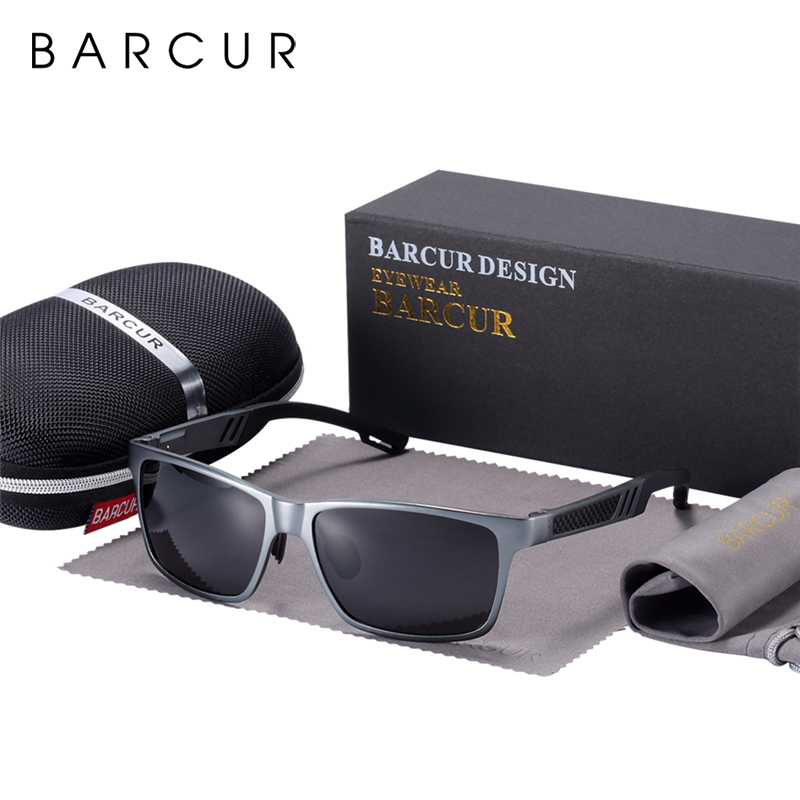 Мужские солнцезащитные очки BARCUR, прямоугольные солнцезащитные очки из алюминиево-магниевого сплава для вождения