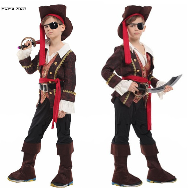 M-XL Kids Children Halloween One-eye Pirate Costumes for Boys Robber Pirate Seaman Cosplay Carnival Purim Masquerade party dress