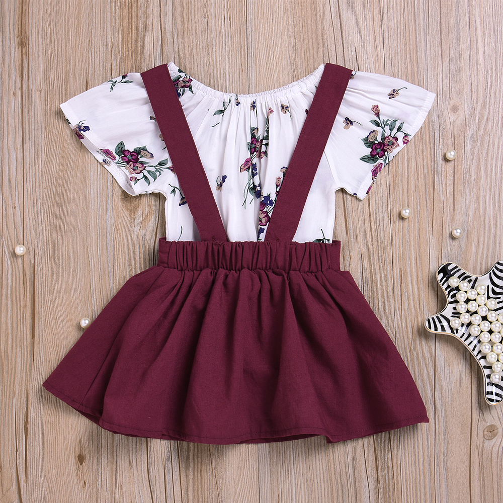 Spring Fall Clothes For Girls 2019 New Fashion Toddler Kids Girl Long Sleeve Wine Red T-shirt+floral Printed Bib Skirts 2pcs Set Clothing Sets
