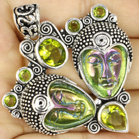 Aura Blooming Colina Cuarzo Diosa Face, verde Peidot Boda 925 Colgante de Plata 60x50mm