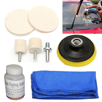 OSSIEAO Glass Polishing Kit Windscreen Scratch Remover 70ml Solution 3 Pads Cloth