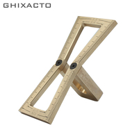Brass Copper Dovetail Marker Hand Cut Wood Joints Gauge Dovetail Guide Tool with Scale Dovetail Template Size 1: 5 1: 6 1: 7 1:8