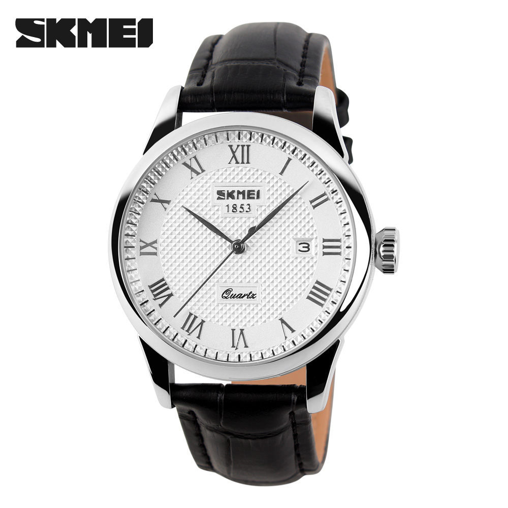SKMEI Men Quartz Wristwatches Luxury Brand Leather Casual Fashion Business Watches Men Clock Waterproof Relogio Masculino 9058 skmei men s quartz watch fashion watches leather strap 3bar waterproof luxury brand wristwatches clock relogio masculino 9106