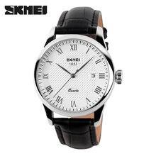 b48a2374410 SKMEI Relógio De Quartzo Homens Marca De Luxo de Couro Relógio de Negócios  de Moda Casual Homens Relógio de Pulso À Prova D  Águ.