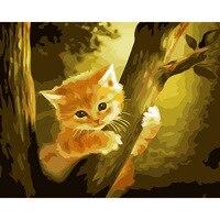 תמונה ללא מסגרת ציור שמן Diy על ידי מספרי עצי חתול צביעה על ידי מספרי ציור קיר אמנות מתנה ייחודית עבור בית תפאורה 40x50 ס
