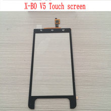 In Stock Original X-BO V5 Touch screen for X-BO V5 mtk6572w dual core 5.0 inch touch panel Mobile phone-free shipping