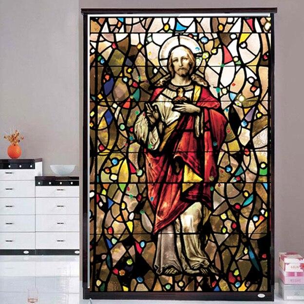 Seigneur jésus Christ décoratif fenêtre film verre films porte autocollant givré intimité fenêtre film 75 cm X 125 cm