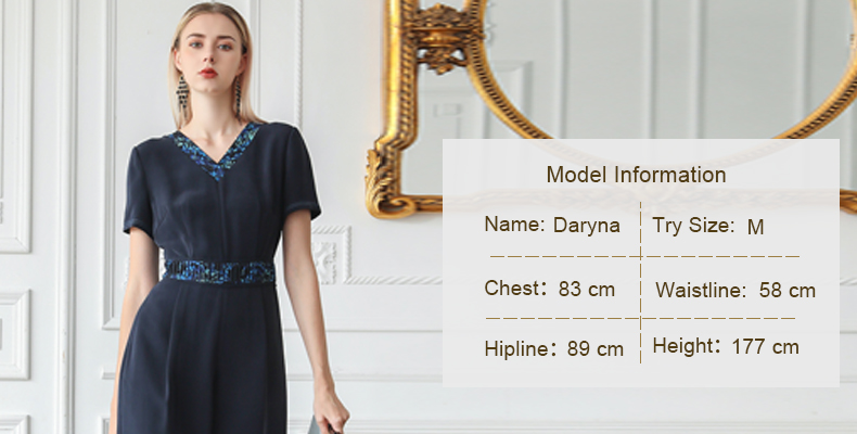 VOA 100% Heavy Silk Jumpsuits High Waist Tunic Summer Women Jumpsuit High Quality Luxury V Neck Short Sleeve Ladies Clothes K657