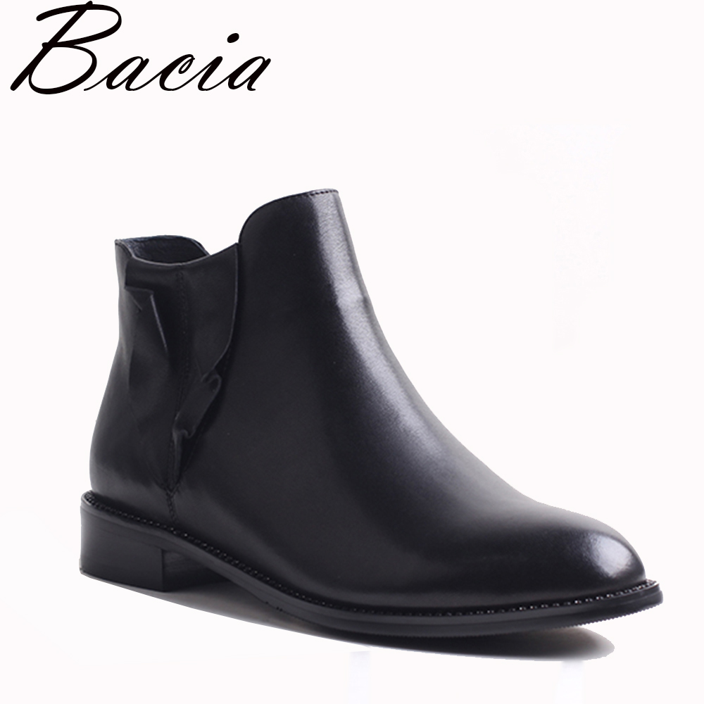 Bacia New Women Flat Ankle Winter Boots Shoes Genuine Leather Warm Short Plush Autumn Fashion Black Patchwork Botas VXB001 bacia women high heels ankle boots genuine leather shoes warm short plush inside autumn fashion pure black botas mc023
