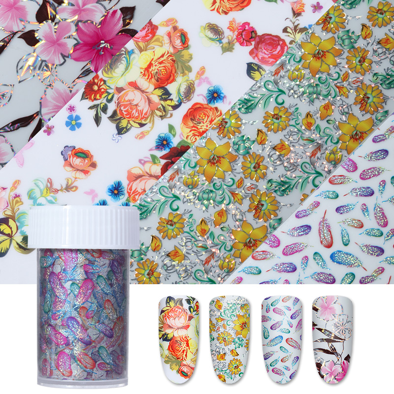 4*100cm Flower Design Holographic Nail Foil Starry Paper Colorful Manicure Nail Art Transfer Sticker 9 rolls colorful flower nail foil 4 100cm holographic starry full fingernail manicure nail art transfer sticker