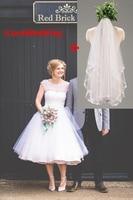 2016 Under 100 White Wedding Dresses1950s Vintage Retro Polka Dot Bridal Gowns Mid Calf Wedding Gowns