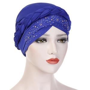 Image 2 - בוהמיה סגנון נשים טורבן כובע אופנה צמת קשר גברת ראש צעיף חיג אב המוסלמי הפנימי חיג אב עבור נשים שיער אביזרי שיער אובדן