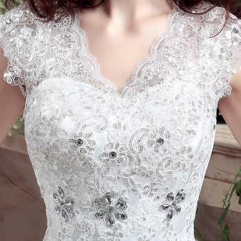 New Arrive Korean Style Large Size Wedding Dress Lace Embroidery Wedding Dress Custom Made Size 002