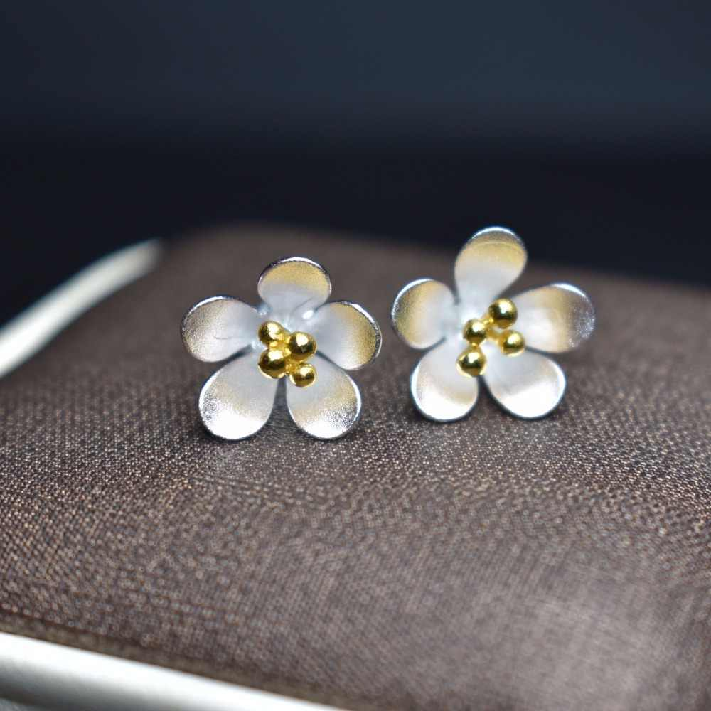 Fine Jewelry 925 Sterling Silver Aretes de Mujer de plata 925 Feito À Mão Brincos para As Mulheres brincos Do Parafuso Prisioneiro
