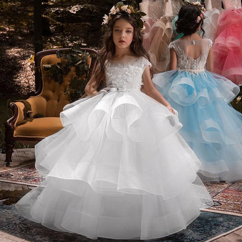 Flower Girl Wedding Party Little Bridesmaid Lace Long Dress Girl School Graduation Dinner Performance Dress Vestidos De Fiesta