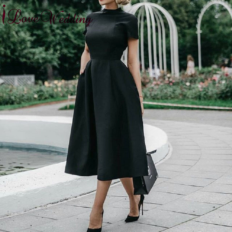 New Fashion 2019 High Neck Short Sleeves Cocktail Dresses Tea Length Black Satin Short Party Dresses