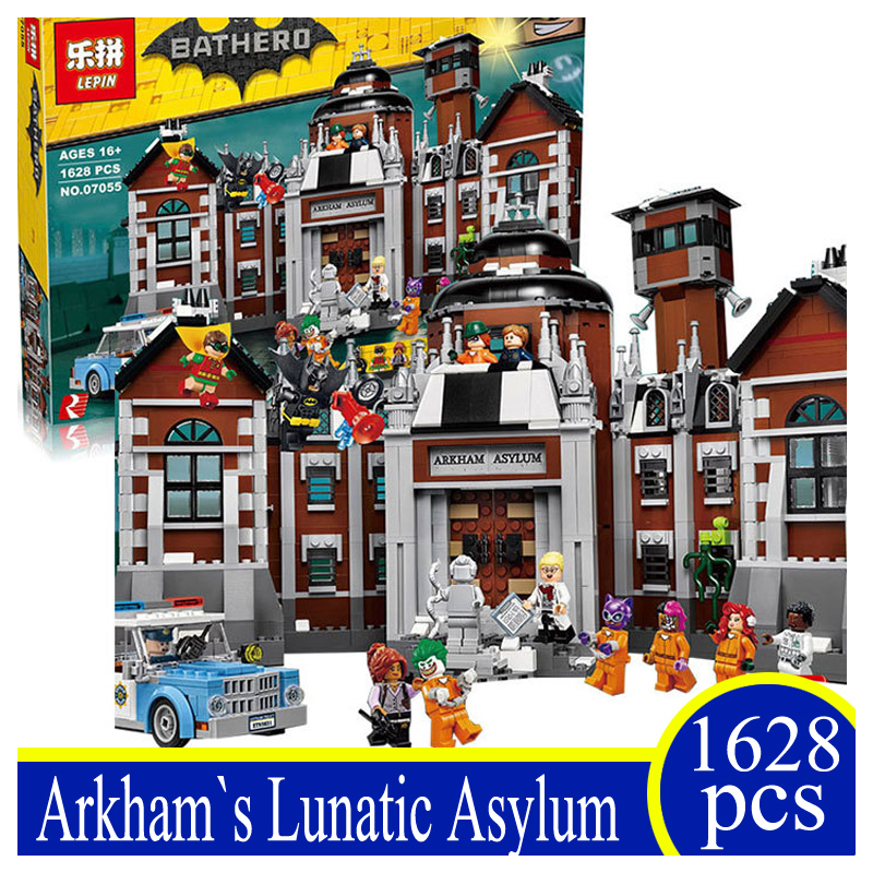 07055 1628Pcs Genuine Batman Movie Series THe Arkham`s Lunatic Asylum Set Building Blocks Bricks Kids Toy Compatible Lepin 70912