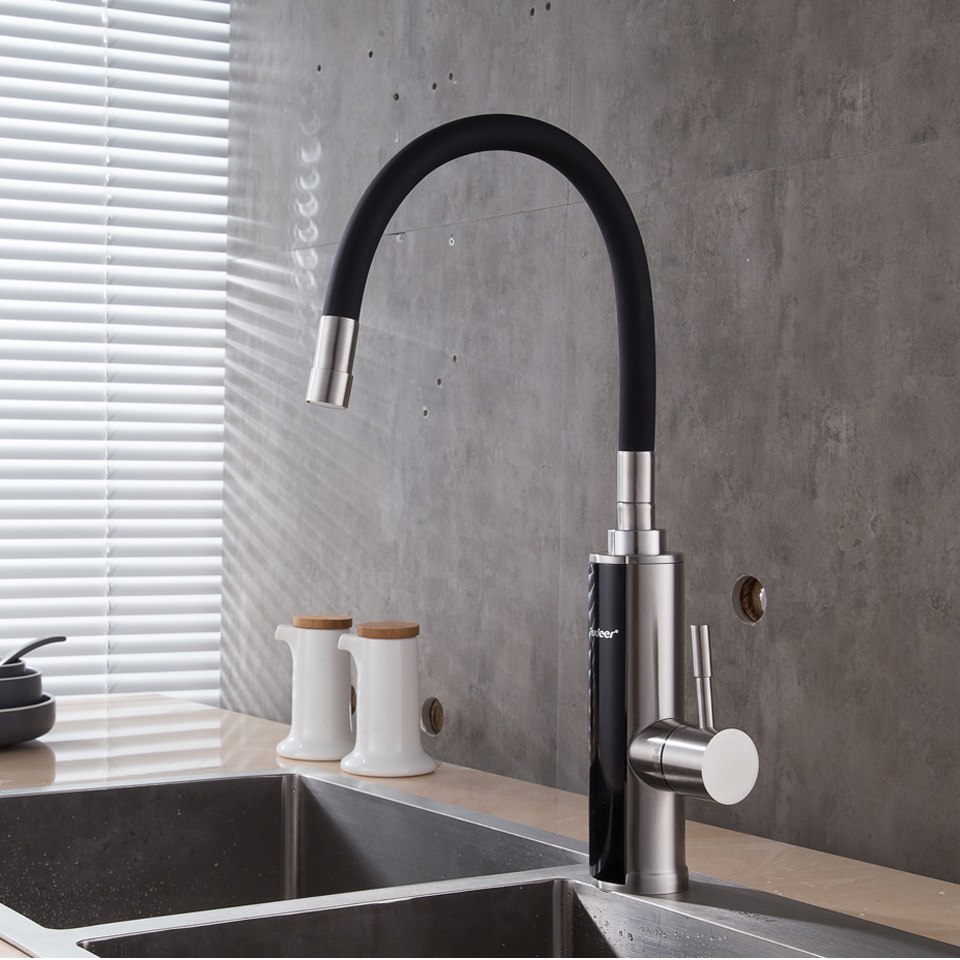 Electric Instant Water Heater Faucet Stainless Steel Flexible Rotating Instant Tankless Heating Faucet Temperature Display 220V