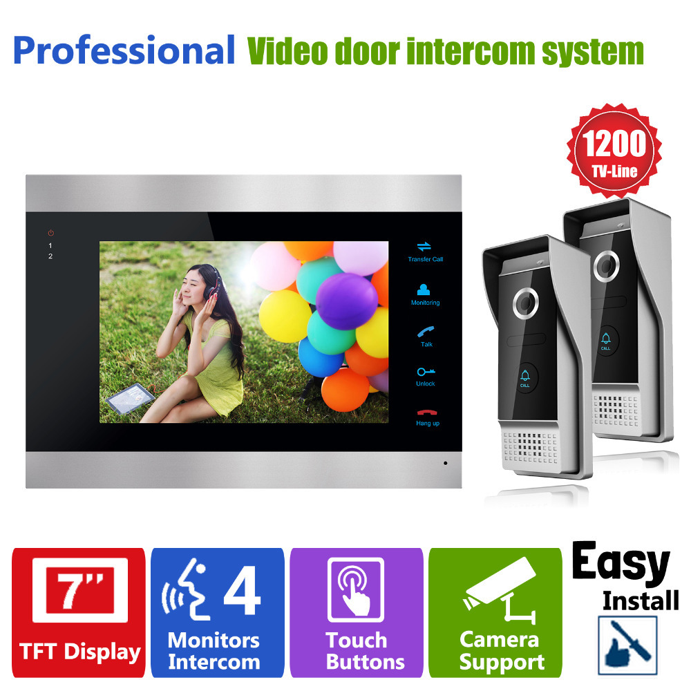 Homefong Video Door Intercom Doorbell System 7 inch 1 Door Monitor and 2 HD 1200TVL Camera Home House Security homefong 4 inch monitor lcd color video record door phone doorbell intercom system night vision 1200tvl high resolution