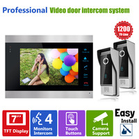 Homefong Video Door Intercom Doorbell System 7 inch 1 Door Monitor and 2 HD 1200TVL Camera Home House Security