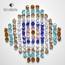 Free Shipping 144 PC (2gross) 6 mm white , blue , brown clear champagne Crystal Glass Bicone Beads 5301 AAE6