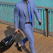 Blue Single Breasted Men Slim Fit Suits Wedding Business Notch Lapels Tuxedo Tailored 2 Pieces Jacket Pants Set