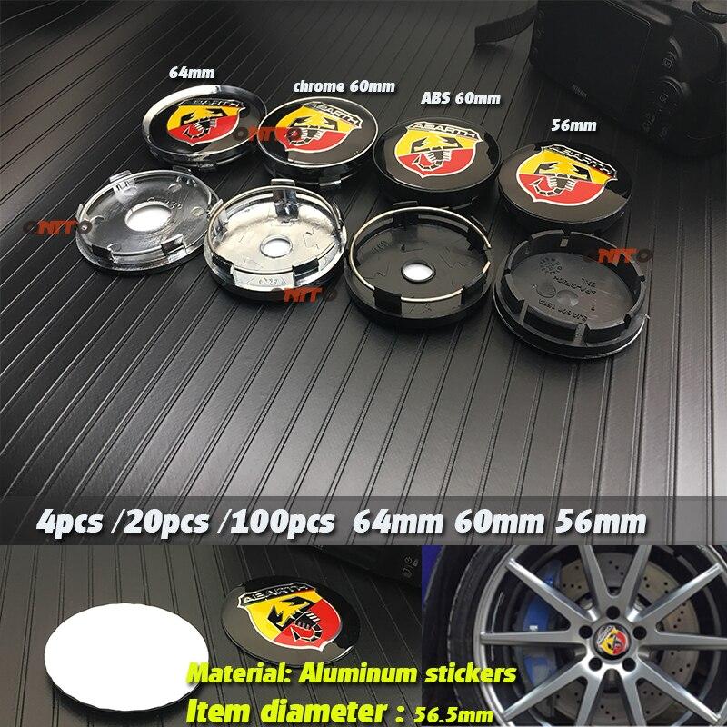 4 Uds. 20 piezas 100 Uds. 56mm 60mm 64mm 135mm automóvil Abarth cubierta central de la rueda tapa del cubo de resina insignia emblema pegatina tapas del cubo decoración del coche