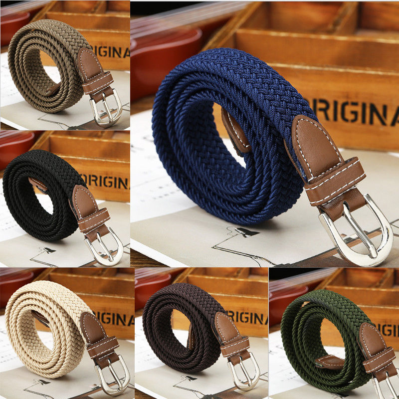 Men's Fashion Stretch Braided Elastic Woven Canvas Buckle   Belt   Waistband Waist Straps Men Weaving   Belt