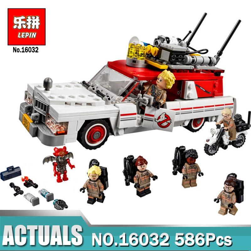 586Pcs Ghostbusters Ecto-1 & 2 Movie Serie Model Building Block Toys LEPIN 16032 Figure Gift For Children Compatible Legoe 75828 new lepin 16008 cinderella princess castle city model building block kid educational toys for children gift compatible 71040