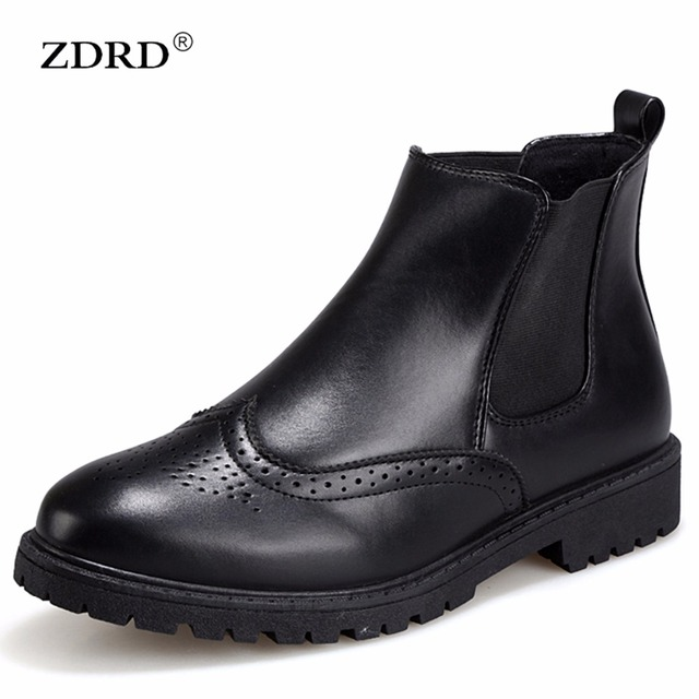 2016 New Fashion Men Martin Boots PU Leather Men Winter Boots Casual Breathable Slip-on Designer Black Men Motorcycle Shoes