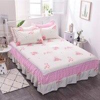 Free shipping Vintage Print Bed Skirt set Korea Style Bedspread King size Bed Skirtks Bed Decoration