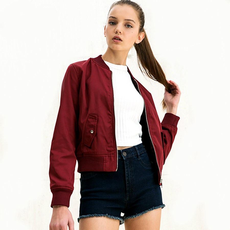 Red Bomber Jacket Womens