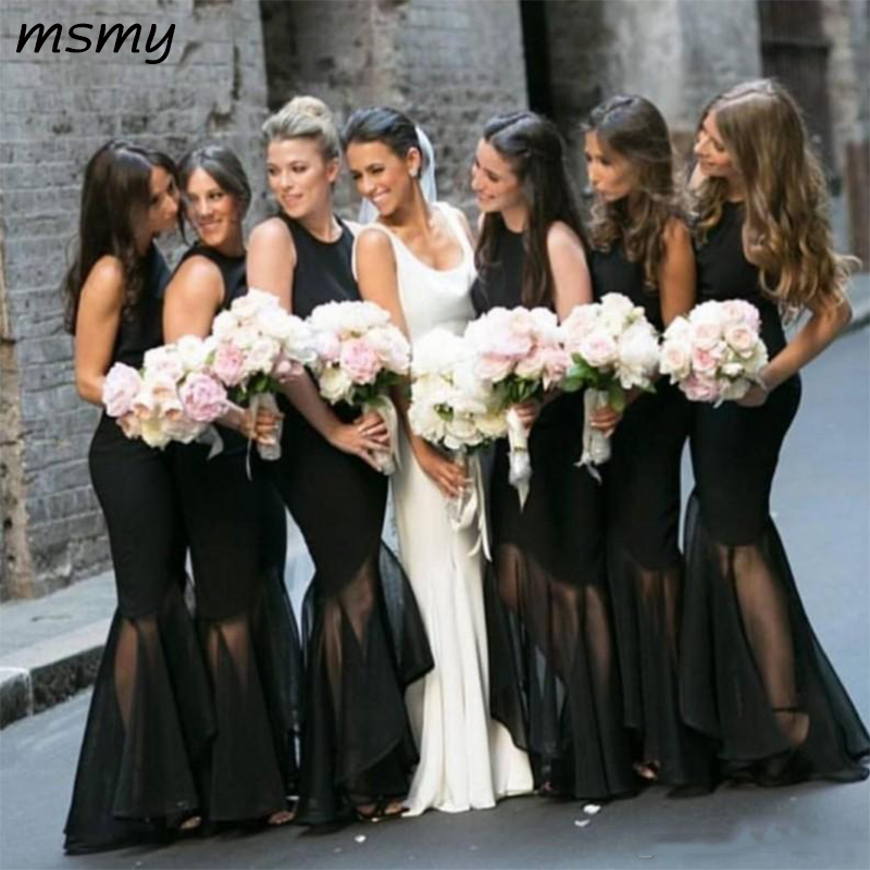 New Design Black   Bridesmaids     Dresses   Mermaid Floor Length Formal Country Beach Maid of Honor Prom Party Gowns Cheap Custom Made