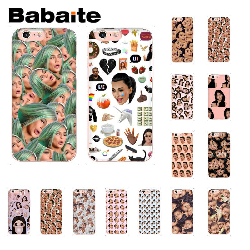 Babaite Kimoji Kim Kardashian kanye west north kylie jenner Customer Phone Case for iPhone 8 7 6 6S Plus X XS MAX 5 5S SE XR 10 in Half wrapped Cases from Cellphones Telecommunications
