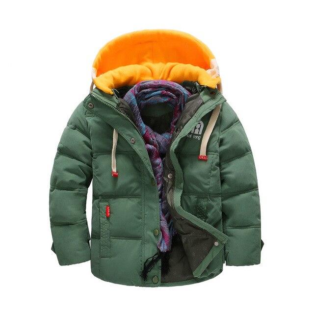 BibiCola/зимние куртки для мальчиков детские повседневные теплые толстовки с капюшоном Парки для Для маленьких мальчиков плотная верхняя одежда детская одежда зимняя куртка